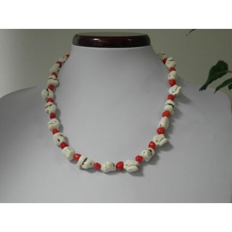 Korál - howlit -náhrdelník, náramok, náušnice