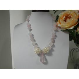 Ruženín, riečné perly - náhrdelník, náušnice