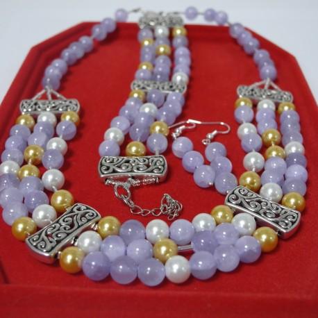 Jadeit, shell perla- trojdielna súprava