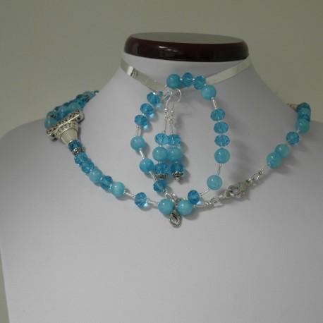 Jadeit, swarovského krištáľ - náhrdelník, náramok, náušnice