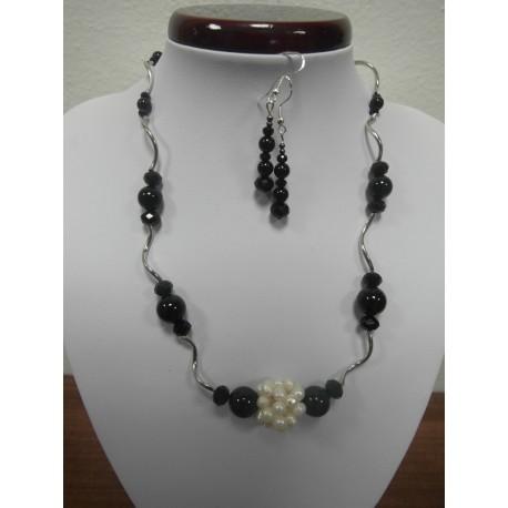 Ónyx - perla - náhrdelník,náušnice