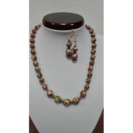 Smaltovaný kov - náhrdelník,náušnice