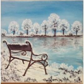 Obraz - Olejomaľba na plátne - Zamrznuté jazero - Milan Fabián