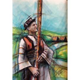 Obraz - Akvarel - Fujara - Mgr. Art. Ľubomír Korenko
