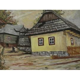 Obraz - Olejomaľba - Vlkolinec - Miroslav Katuščák