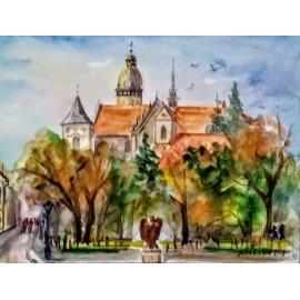 Obraz- Akvarel- Košice v jeseni- Mária Lenárdová