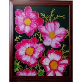Obraz - Maľba na sklo - Červené kvety - Jana Gubová
