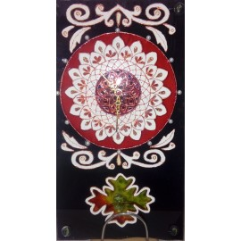 Sklenené hodiny - Maľba na sklo - Mandala - Alexander Orlík