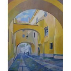 Obraz - Olejomaľba na plátne - Pod bránkou - Mgr. Art. Jaroslav Staviščák