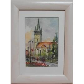 Obraz - Akvarel na výkrese - Prešov, leto - Mária Lenárdová