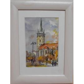Obraz - Akvarel na výkrese - Prešov, jeseň - Mária Lenárdová