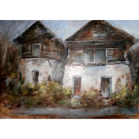 Obraz - Olejomaľba - Liptovské drevenice -