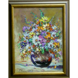 Obraz - Olejomaľba na plátne - Zátišie - Záhradné kvety - Vladimír Semančík