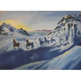Obraz - Olejomaľba - Snežné kone - Ružena Pavlíková