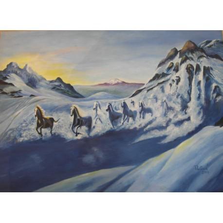 Obraz - Snežné kone