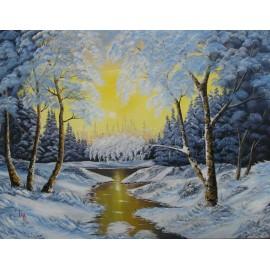 Obraz - Olejomaľba na plátne - Zima 6 - Ján Lupčo