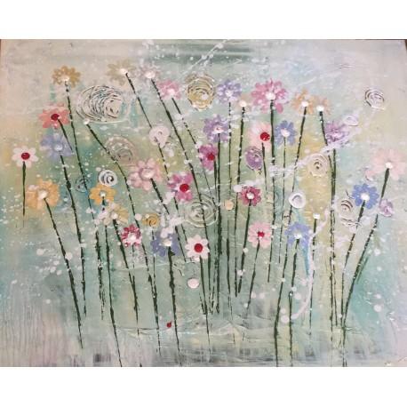 Obraz - Kombinovaná technika - Poľné kvety - Katarína Haraksimová