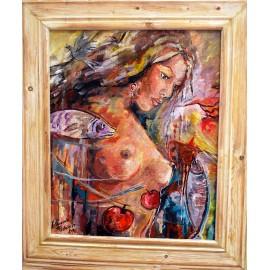 Obraz - Olejomaľba na sololite - Žena s rybou - Daniela Petríková