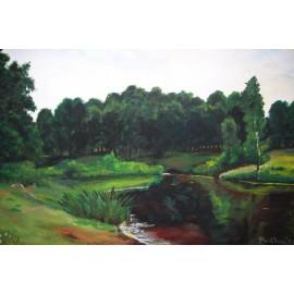 Obraz - Olejomaľba - Letný park s bambuskami - Ružena Pavlíková