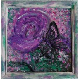 Obraz - Olejomaľba - Fialová ruža a motýľ - Ružena Pavláková
