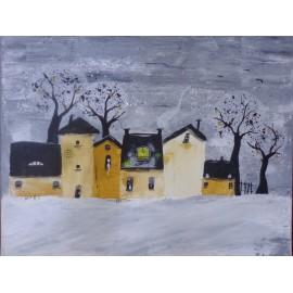 Obraz - Akryl - Zimná ulica - Silvia Sochuláková