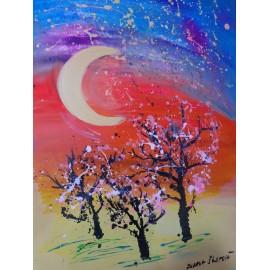 Obraz - Akryl na plátne - Jarná noc - Mgr.Zuzana Škopová