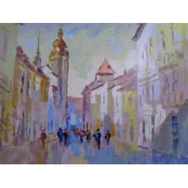 Obraz - Olejomaľba na plátne - Mlynská ulica - akad. mal. Varuzhan Aghamyan