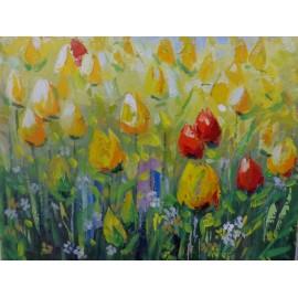 Obraz - Olejomaľba na plátne - Tulipány - akad. mal. Varuzhan Aghamyan