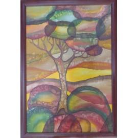 Obraz na hodvábe maľovaný- Domčeky