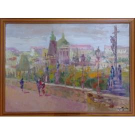 Obraz - Olejomaľba na kartóne - Karlov most - Praha - akad. mal. Varuzhan Aghamyan