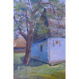 Obraz- Olejomaľba- Modrý domček - Ing. arch. Eva Lorenzová