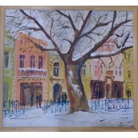 Obraz- Akryl-Platan v zime na Hlavnej - Ing. arch. Eva Lorenzová