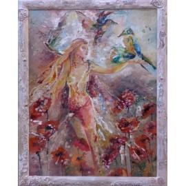 Obraz - Maľba na sklo - Lietajúca žena a papagáje - Daniela Petríková