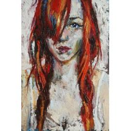 Obraz - Olejomaľba - Portrét dievčaťa s červenými vlasmi - Mgr.Art Kamil Kozub