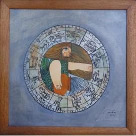 Obraz - Akvarel - Tuš - Znamenia zverokruhu - Vodnár - Janka Onušková