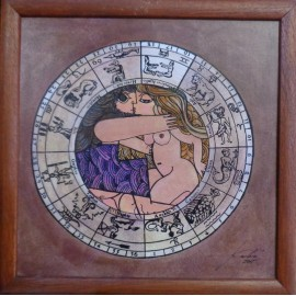 Obraz - Akvarel - Tuš - Znamena zverokruhu - Blíženci - Janka Onušková