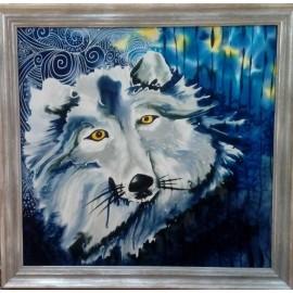 Obraz - Maľba na hodváb - Modrý vlk - PhDr. Elena Ruta-Marchallé
