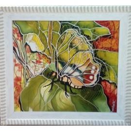 Obraz - Maľba na hodváb - Motýľ v bielom ráme -PhDr. Elena Ruta-Marchallé