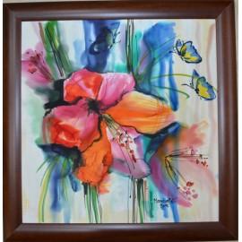 Obraz - Maľba na hodváb - Oranžový kvet - PhDr. Elena Ruta-Marchallé