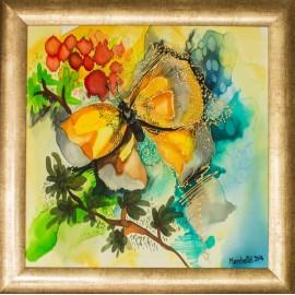 Obraz - Maľba na hodváb - Motýľ - PhDr. Elena Ruta-Marchallé