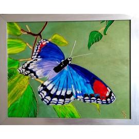Obraz - Maľba na sklo - Modrý Motýľ - Jana Gubová
