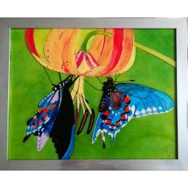 Obraz - Maľba na sklo - Motýle - Jana Gubová