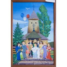 Ručne maľovaný obraz na skle-Kostol