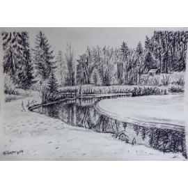 Obraz - Pastel - Rybník Zahura I. - Mgr. Viliam Švirk