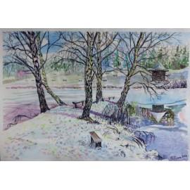 Obraz - Akvarel, Pastel - Rybník Zahura II. - Mgr. Viliam Švirk