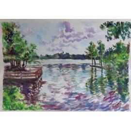 Obraz - Akvarel -Jazero Počúvadlo - Mgr. Viliam Švirk