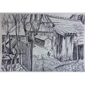 Obraz - Pastel - Gazdovský dvor - Mgr. Viliam Švirk