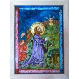 Obraz - Maľba na sklo - Kristus na olivovej hore - Mgr.Art.Martina Hricová
