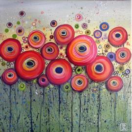 Obraz - Akryl - Červené bublinky II. - Silvia Sochuláková