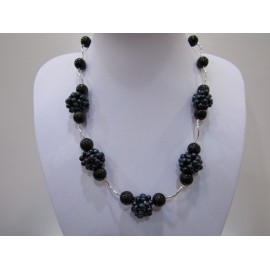 Gagát (čierny jantár) - náhrdelník, náušnice + Ag 925